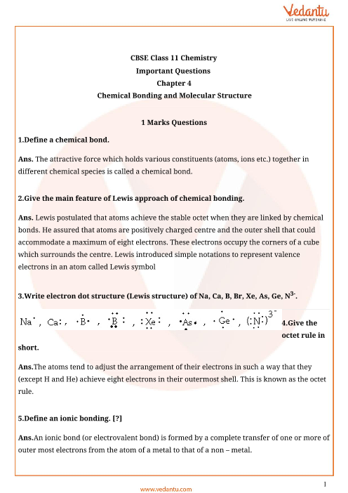 Important Question Class 11 Chemistry Chapter 4 part-1