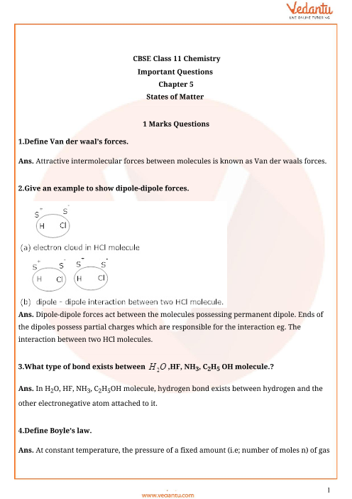 Important Question Class 11 Chemistry Chapter 5 part-1