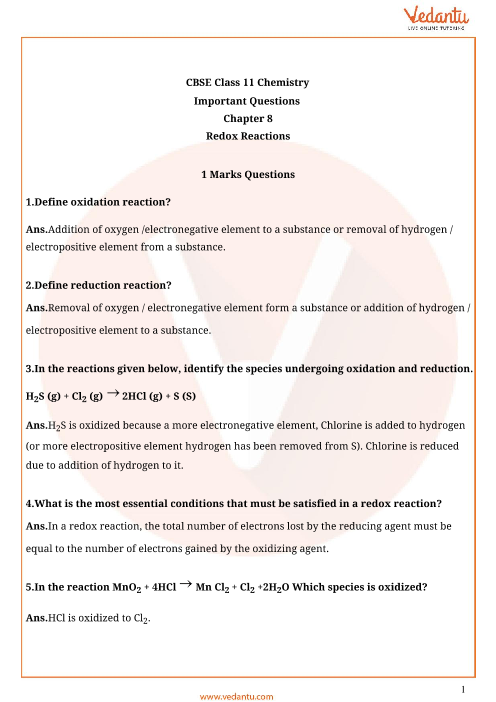Important Questions For Cbse Class 11 Chemistry Chapter 8 Redox