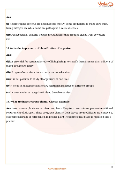 Important Questions For Cbse Class 11 Biology Chapter 2 Biological