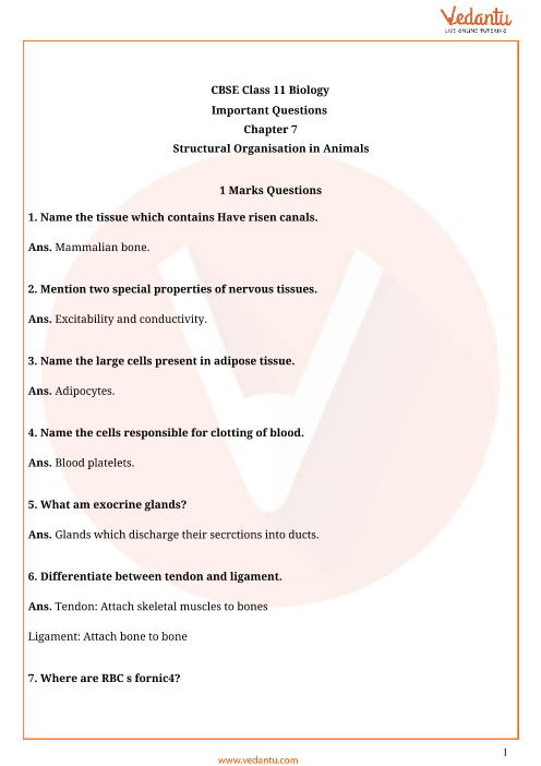 Important Questions Class 11 Biology Chapter 7 part-1