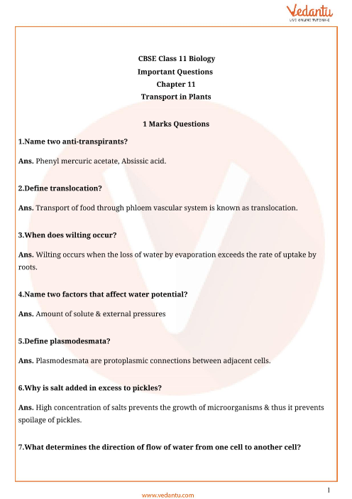 Important Questions Class 11 Biology Chapter 11 part-1