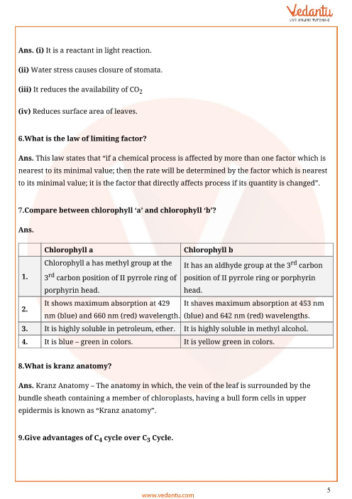 Important Questions for CBSE Class 11 Biology Chapter 13 ...