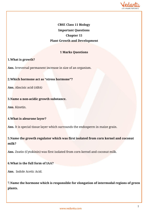 Important Questions Class 11 Biology Chapter 15 part-1