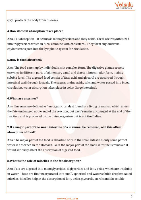 Important Questions For Cbse Class 11 Biology Chapter 16 Digestion