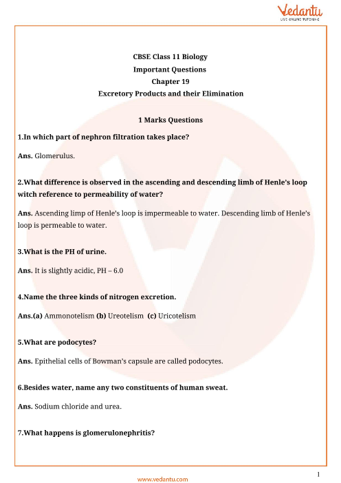 Important Questions Class 11 Biology Chapter 19 part-1