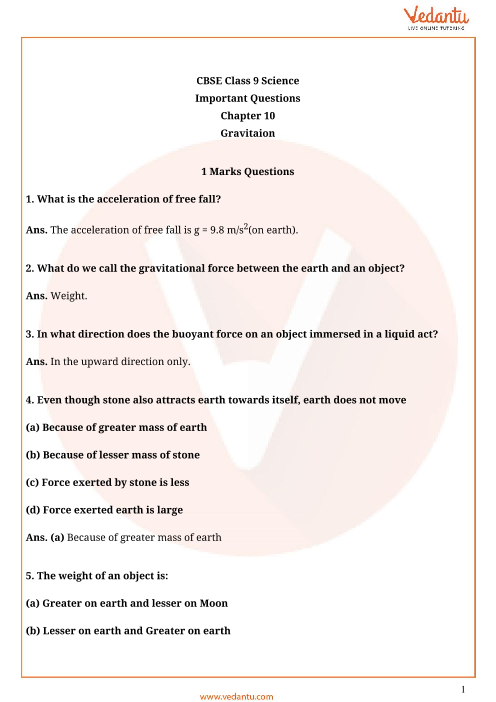Important Questions Class 9 Science Chapter 10 part-1