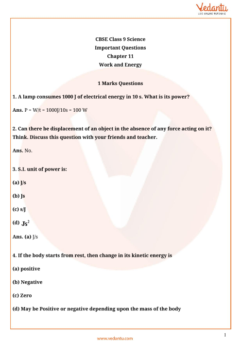 Important Questions Class 9 Science Chapter 11 part-1
