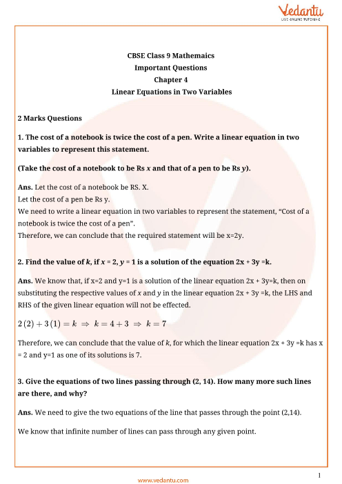 Important Questions Class 9 Maths Chapter 4 part-1