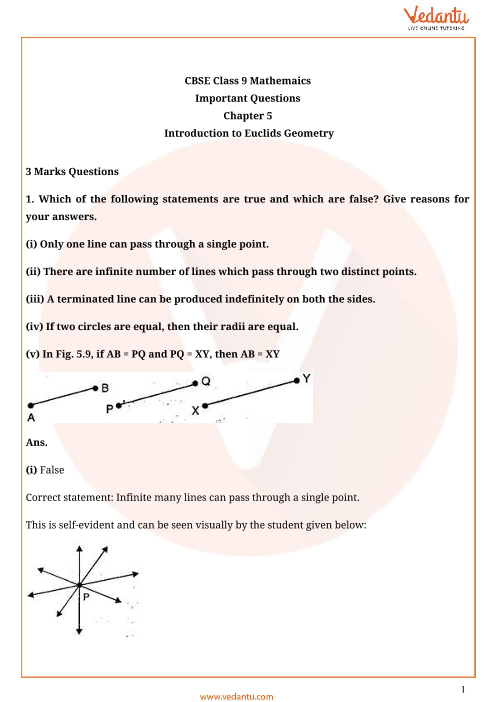 Important Questions Class 9 Maths Chapter 5 part-1