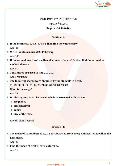 Important Questions Class 9 Maths Chapter 14 part-1