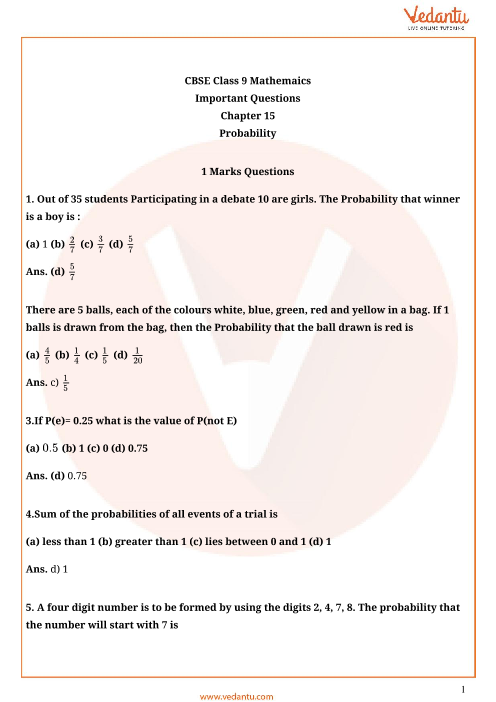 Important Questions Class 9 Maths Chapter 15 part-1
