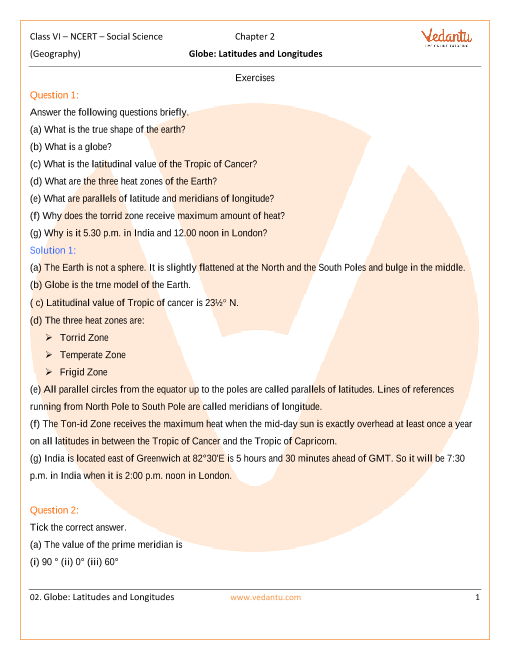 NCERT Solutions Class 6 SST The Earth Our Habitat Chapter-2 part-1