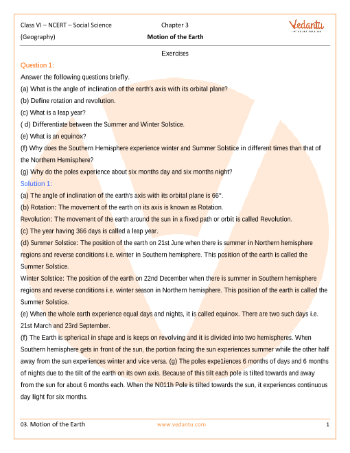 NCERT Solutions Class 6 SST The Earth Our Habitat Chapter-3 part-1
