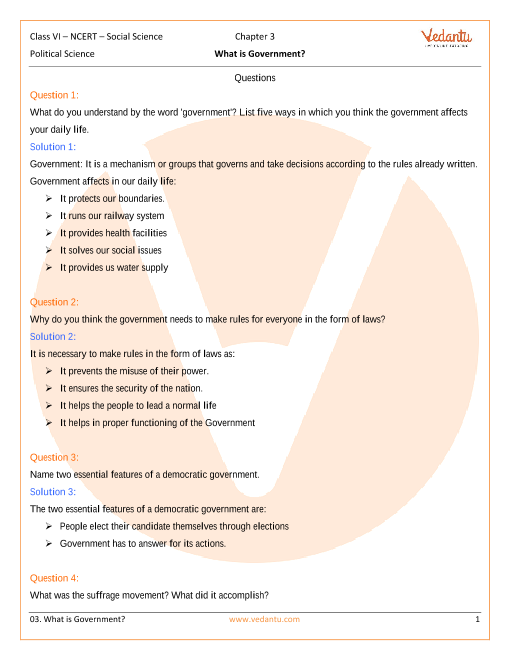 NCERT Solutions Class 6 SST Social and Political Life Chapter-3 part-1