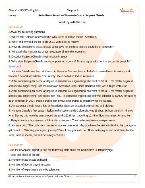 NCERT Solutions Class 6 English Honeysuckle Chapter-4 part-1