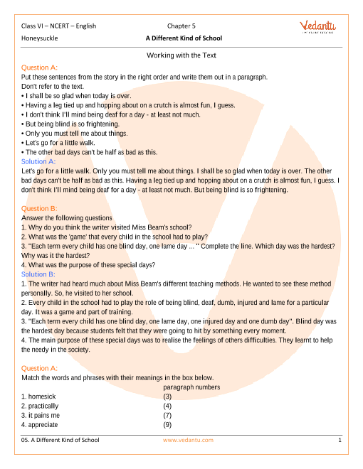 NCERT Solutions Class 6 English Honeysuckle Chapter-5 part-1