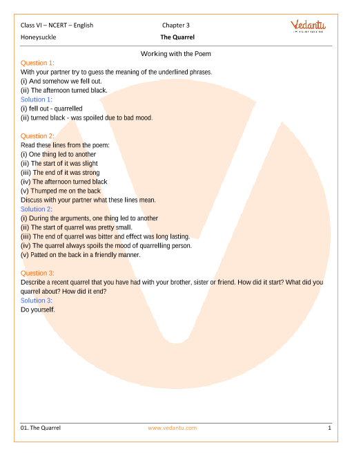 NCERT Solutions Class 6 English Honeysuckle Chapter-3-Poem part-1
