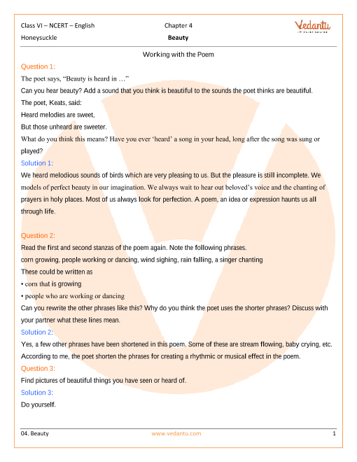 NCERT Solutions Class 6 English Honeysuckle Chapter-4-Poem part-1