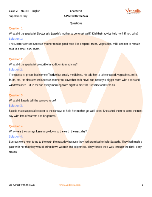 NCERT Solutions for Class 6 English - A Pact with Sun Ch-8 New part-1