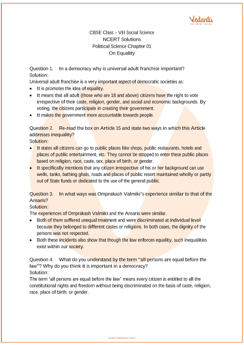 NCERT Solutions for Class 7 Social Science Political life Chap-1 part-1