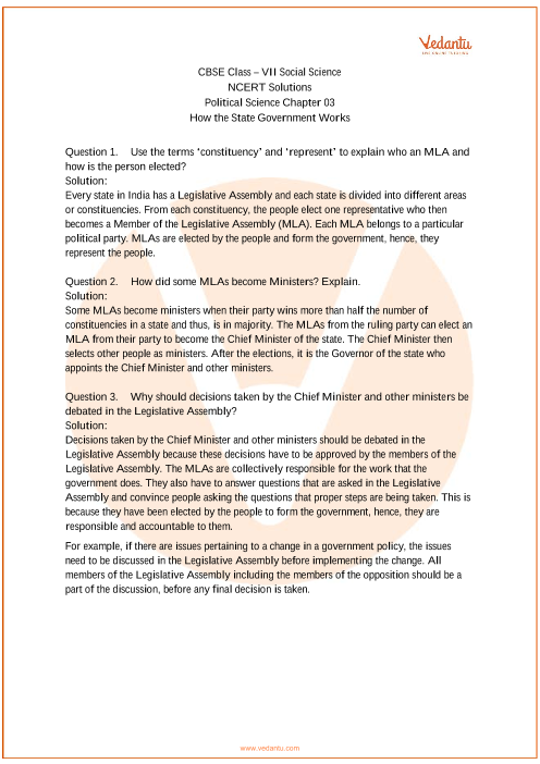 NCERT Solutions for Class 7 Social Science Political life Chap-3 part-1