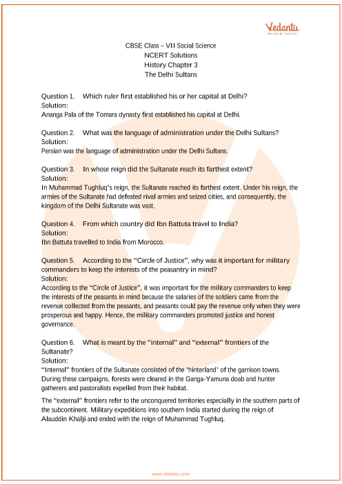 NCERT Solutions for Class 7 Social Science History Chap-3 part-1