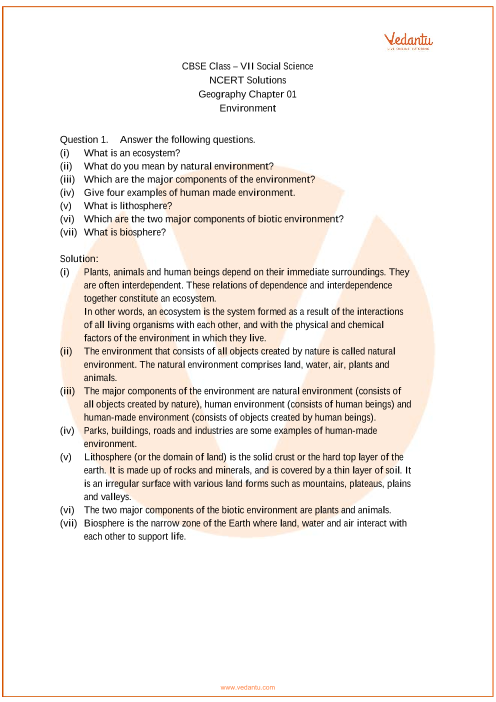 NCERT Solutions for Class 7 Social Science Geography Chap-1 part-1