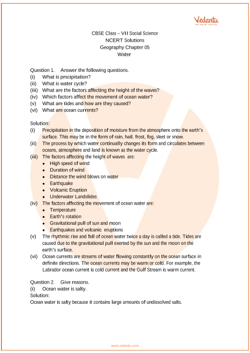 NCERT Solutions for Class 7 Social Science Geography Chap-5 part-1