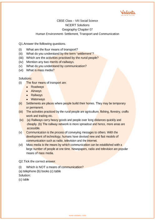 NCERT Solutions for Class 7 Social Science Geography Chap-7 part-1