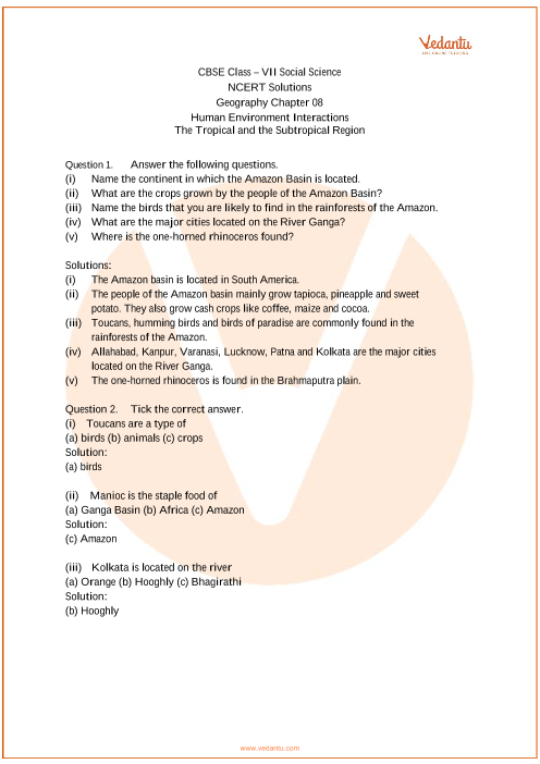 NCERT Solutions for Class 7 Social Science Geography Chap-8 part-1