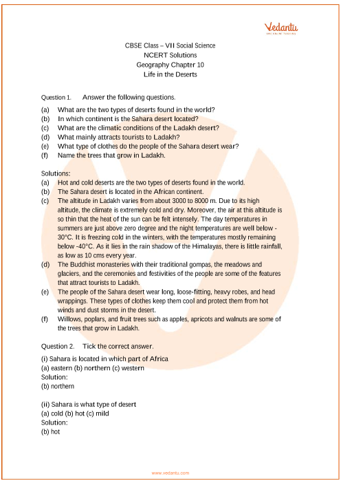 NCERT Solutions for Class 7 Social Science Geography Chap-10 part-1