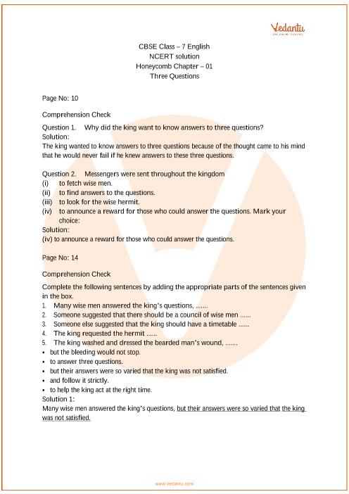 NCERT Solutions Class 7 English Honeycomb Chapter-1 part-1
