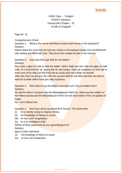 ncert solutions for class 7 english honeycomb chapter 2 a gift of
