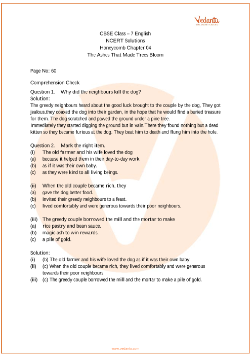 NCERT Solutions Class 7 English Honeycomb Chapter-4 part-1