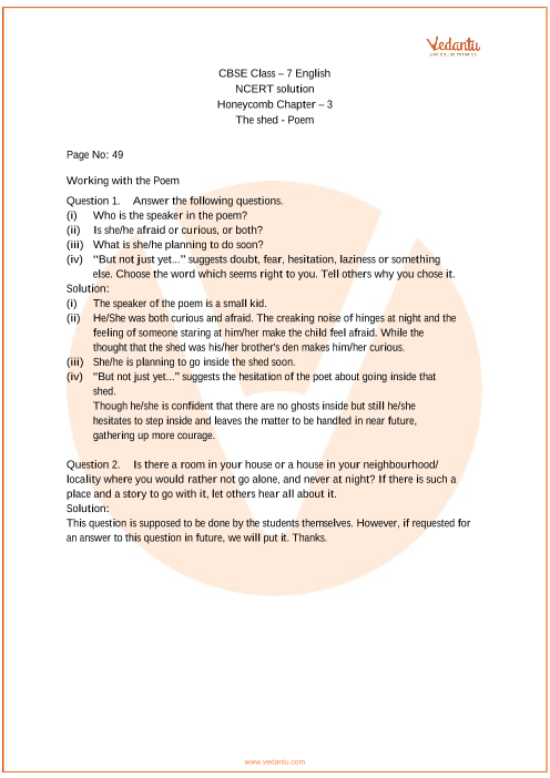 NCERT Solutions Class 7 English Honeycomb Chapter-3 Poem part-1