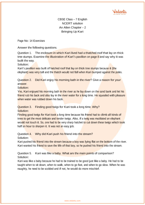 NCERT Solutions Class 7 English An Alien Hand Chapter-2 part-1