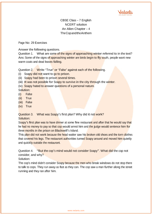 NCERT Solutions Class 7 English An Alien Hand Chapter-4 part-1