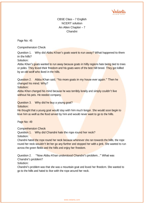 NCERT Solutions Class 7 English An Alien Hand Chapter-7 part-1
