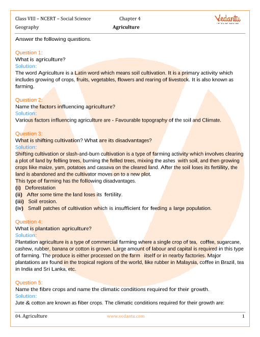 NCERT Solutions for Class 8 Social Science Geography Chap-4 part-1