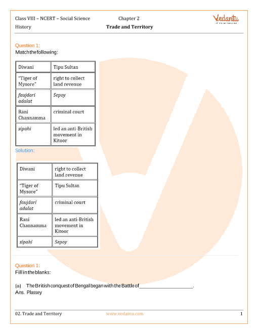 NCERT Solutions for Class 8 Social Science History Chap-2 part-1