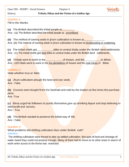 NCERT Solutions for Class 8 Social Science History Chap-4 part-1