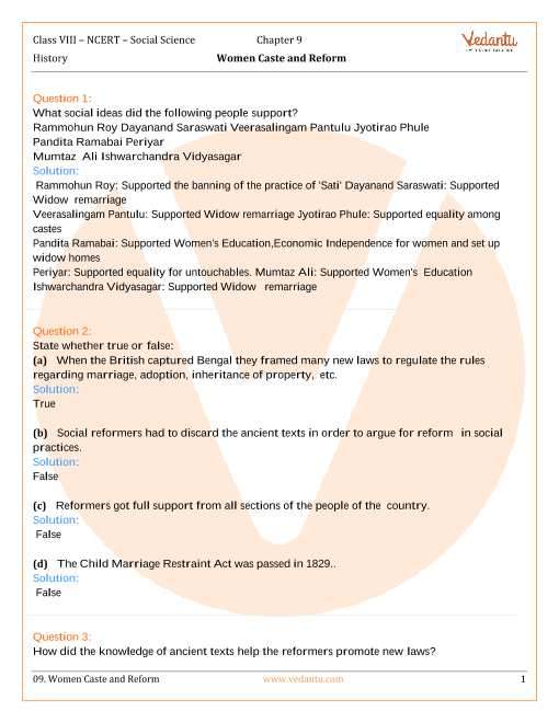 ncert solution for class 8 social science