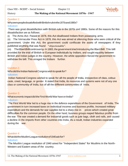 NCERT Solutions for Class 8 Social Science History Chap-11 part-1