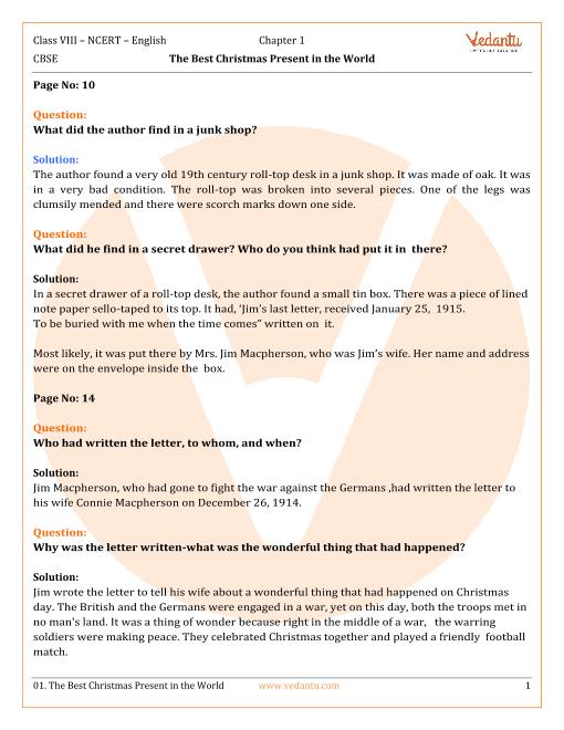 NCERT Solutions Class 8 English Honeydew Chap-1 part-1