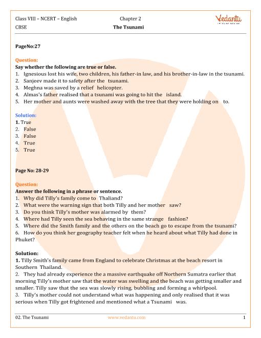 NCERT Solutions Class 8 English Honeydew Chap-2 part-1