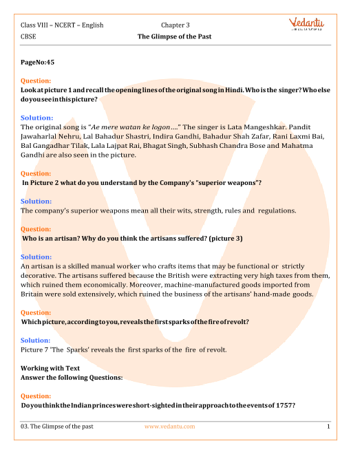 NCERT Solutions Class 8 English Honeydew Chap-3 part-1