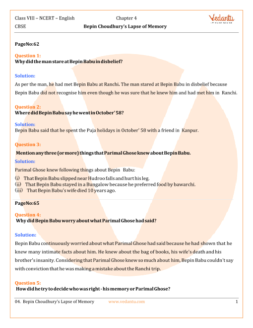 NCERT Solutions Class 8 English Honeydew Chap-4 part-1