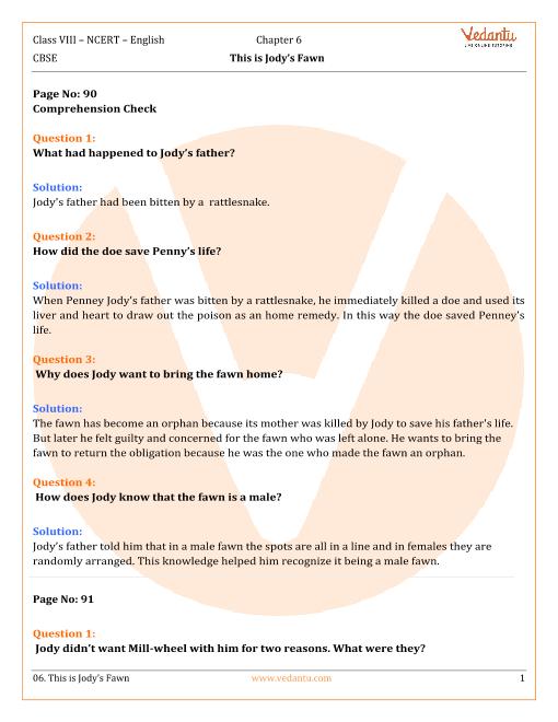 NCERT Solutions Class 8 English Honeydew Chap-6 part-1