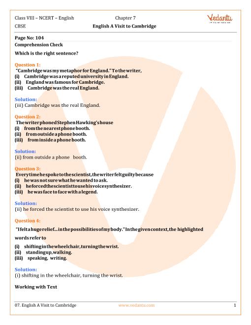 NCERT Solutions Class 8 English Honeydew Chap-7 part-1